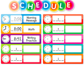 Daily Schedule to follow while students are home